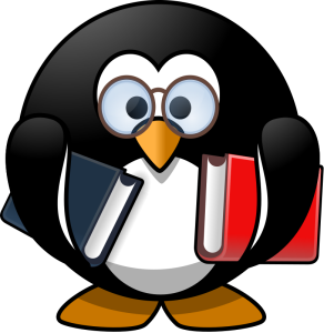 Bookworm Penguin openclipart.org